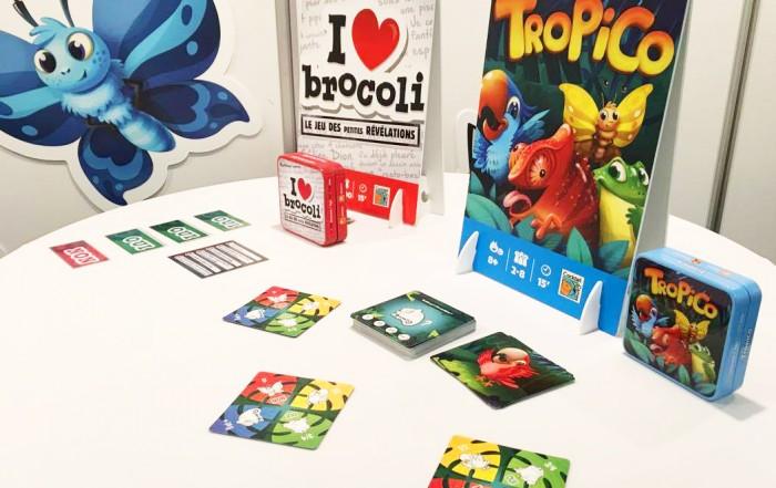 Les jeux Tropico et I love brocoli sur le stand Cocktail Games à Nuremberg 2017